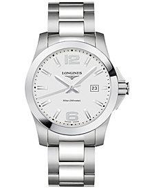Longines Men's Swiss Conquest Stainless Steel Bracelet Watch 41mm
