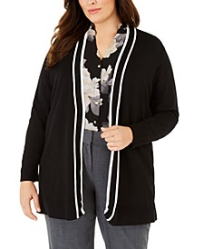 Plus Size Contrast-Trim Long Cardigan Sweater