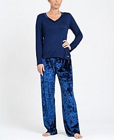 Mix Velvet Pajama Set, Online Only