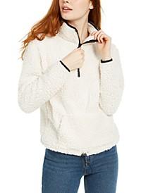 Juniors' Quarter Zip Sherpa Sweatshirt