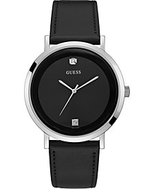 Men's Diamond-Accent Black Leather Strap Watch 44mm
