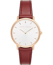 Women's Major Bordeaux Leather Strap Watch 35mm