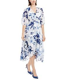 Printed Chiffon Surplice Dress