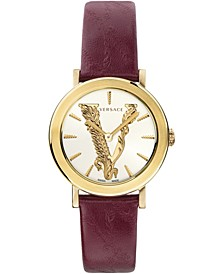 Women's Swiss Virtus Burgundy Leather Strap Watch 36mm
