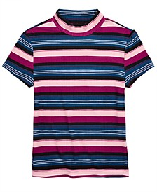 Big Girls Striped Ribbed T-Shirt, Created for Macy's