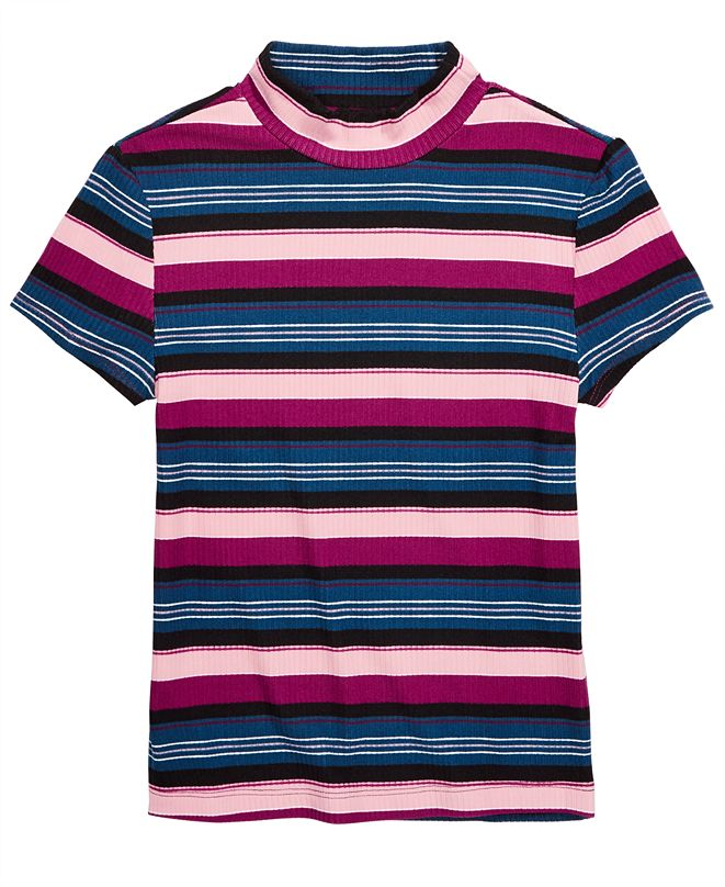 Epic Threads Big Girls Striped Ribbed T-Shirt, Created for Macy's