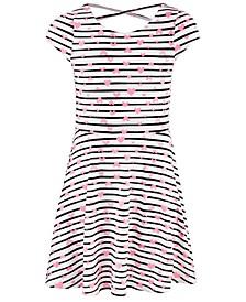 Big Girls Stripes & Hearts Dress, Created For Macy's