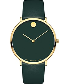 Swiss Modern Green Leather Strap Watch 40mm