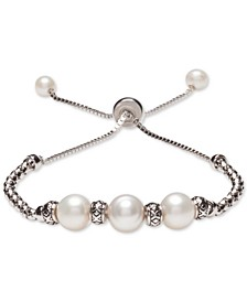 Cultured Freshwater Pearl (8mm & 4mm) Bolo Bracelet in Sterling Silver