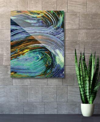 "Kashima in Blue Abstract 16"" x 20"" Acrylic Wall Art Print"