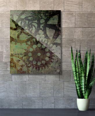 "Shadows of Gears Green Abstract 24"" x 36"" Acrylic Wall Art Print"