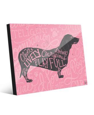 Traits Dachshund Dog in Grey on Pink 24
