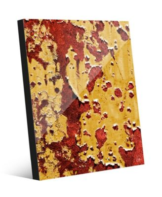 """Flaking Wall Caution in Yellow Red Abstract 24"""" x 36"""" Acrylic Wall Art Print"""