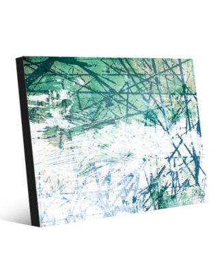 Green Lined Wall with White Abstract 24