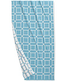 "Resort Geo Print Cotton 40"" x 70"" Beach Towel, Created for Macy's"
