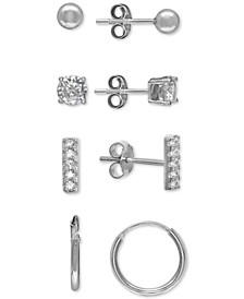 4-Pc. Set Cubic Zirconia & Polished Stud & Hoop Earrings in Sterling Silver, Created For Macy's