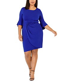 Plus Size Ruffled Faux-Wrap Dress