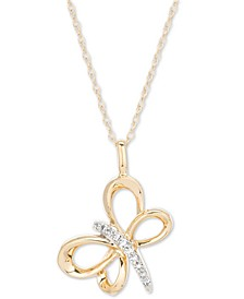 "Diamond Dragonfly 16"" Pendant Necklace (1/20 ct. t.w.) in 14k Gold"