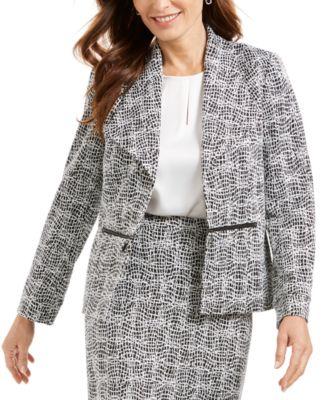 Metallic Jacquard Wing-Collar Jacket