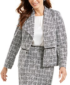 Metallic Jacquard Wing-Collar Jacket