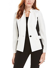 Colorblocked Notch-Collar Blazer