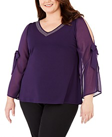 Plus Size Embellished Chiffon-Sleeve Top