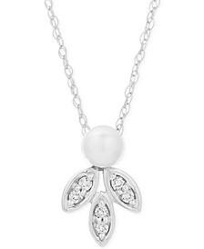 "Freshwater Pearl (8-9mm) & Diamond (1/20 ct. t.w.) 16"" Pendant Necklace in Sterling Silver"
