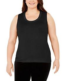 Plus Size Sleeveless Embellished Top
