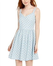 Juniors' Polka-Dot Fit & Flare Dress