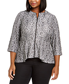 Alex Evenings Plus Size Metallic Peplum Jacket