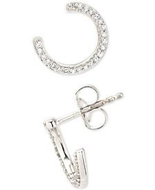 Diamond Hoop Stud Earrings (1/8 ct. t.w.) in Sterling Silver