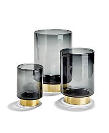 Smoked Vases with Brass Finish Base - Set of 3