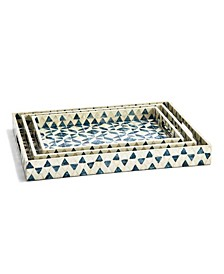 Geometric Mother of Pearl Gallery Trays - Set of 3