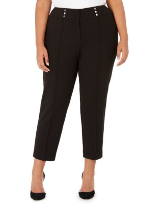 Plus Size Button-Detail Dress Pants