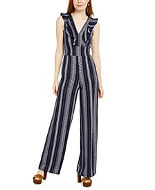 Juniors' Ruffled Open-Back Jumpsuit