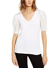 INC Petite Eyelet-Puff-Sleeve Top, Created For Macy's