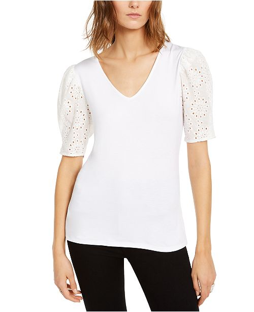 INC International Concepts INC Petite Eyelet-Puff-Sleeve Top, Created For Macy's