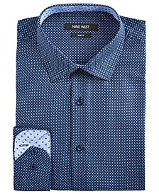 Men's Slim-Fit Wrinkle-Free Performance Stretch White Ground with Blue & White Print Dress Shirt
