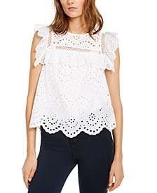 INC Eyelet Flutter-Sleeve Top, Created for Macy's