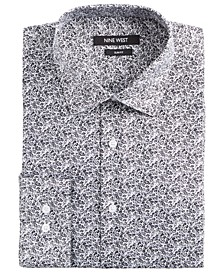 Men's Slim-Fit Wrinkle-Free Performance Stretch White & Black Floral Print Dress Shirt