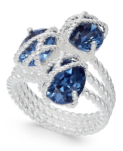 Charter Club Silver-Tone Oval Crystal Triple-Wrap Ring, Created for Macy's