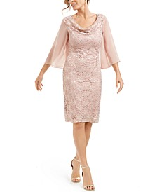 Flutter-Sleeve Lace Sheath Dress