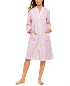 Women's Printed French Terry Zipper Robe
