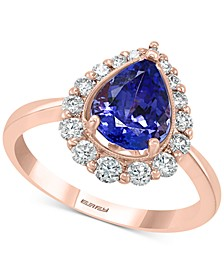 EFFY® Tanzanite (1-1/2 ct.t.w.) & Diamond (3/8 ct. t.w.) Ring in 14k Rose Gold