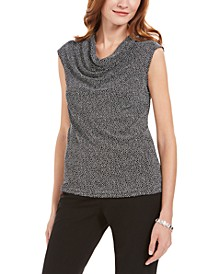 Metallic-Print Cowlneck Top