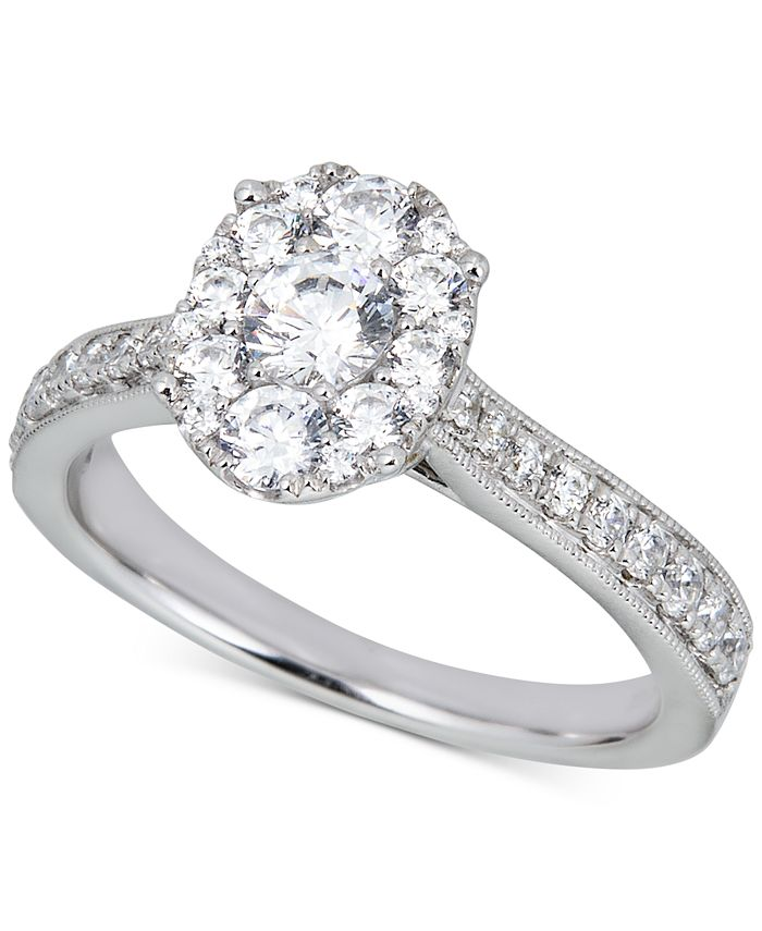 Macy's - Diamond Oval Halo Engagement Ring (1 ct. t.w.) in 14k White Gold