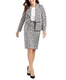 Petite Metallic Blazer, Keyhole Blouse & Metallic Jacquard Skirt