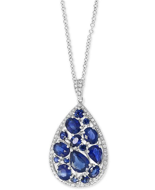"EFFY Collection EFFY® Sapphire (3-7/8 ct. t.w.) & Diamond (1/4 ct. t.w.) 18"" Pendant Necklace in 14k White Gold"