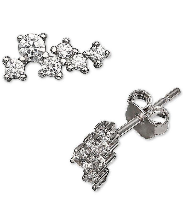Giani Bernini - Cubic Zirconia Horizontal Cluster Stud Earrings in Sterling Silver