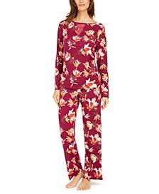 Women's Floral-Print Woven Pajama Set